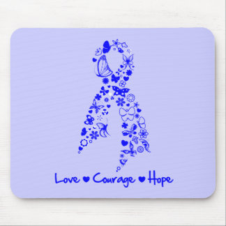 Love Courage Hope Butterfly -  Colon Cancer Mouse Pad