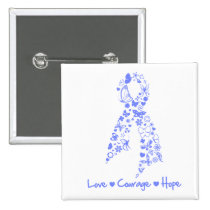 Love Courage Hope Butterfly - Esophageal Cancer Button