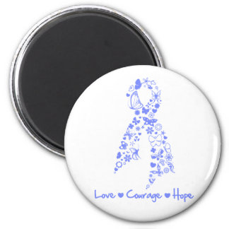 Love Courage Hope Butterfly - Esophageal Cancer 2 Inch Round Magnet