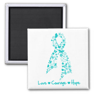 Love Courage Hope Butterfly -  Gynecologic Cancer 2 Inch Square Magnet