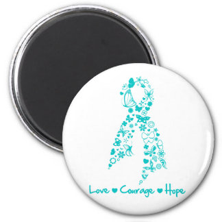 Love Courage Hope Butterfly -  Gynecologic Cancer 2 Inch Round Magnet