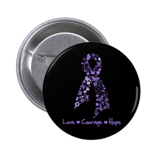 Love Courage Hope Butterfly - Hodgkins Lymphoma 2 Inch Round Button