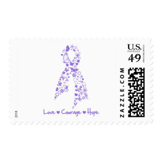 Love Courage Hope Butterfly - Hodgkins Lymphoma Postage Stamps