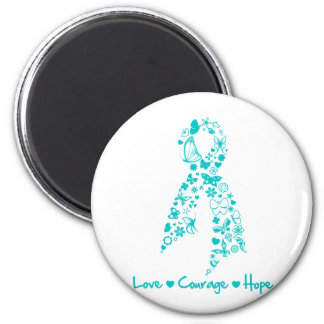 Love Courage Hope Butterfly - Ovarian Cancer Refrigerator Magnet