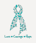 Love Courage Hope Butterfly - Ovarian Cancer T Shirt
