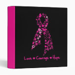 Love Courage Hope Butterfly Ribbon - Breast Cancer 3 Ring Binders