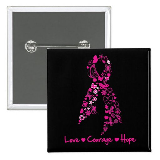 Love Courage Hope Butterfly Ribbon - Breast Cancer Pins