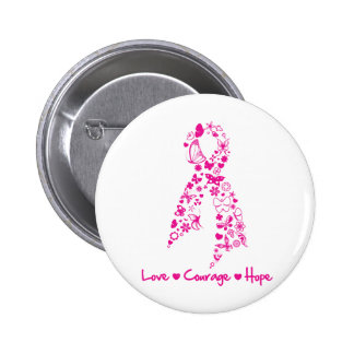 Love Courage Hope Butterfly Ribbon - Breast Cancer Pinback Buttons