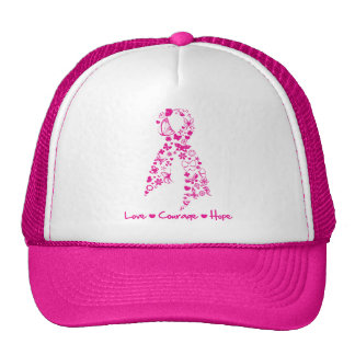 Love Courage Hope Butterfly Ribbon - Breast Cancer Trucker Hats