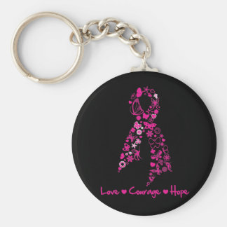 Love Courage Hope Butterfly Ribbon - Breast Cancer Key Chain