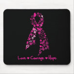 Love Courage Hope Butterfly Ribbon - Breast Cancer Mouse Pad