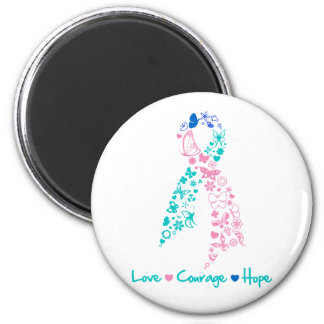 Love Courage Hope Butterfly -  Thyroid Cancer 2 Inch Round Magnet