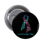Love Courage Hope Butterfly -  Thyroid Cancer Pinback Buttons