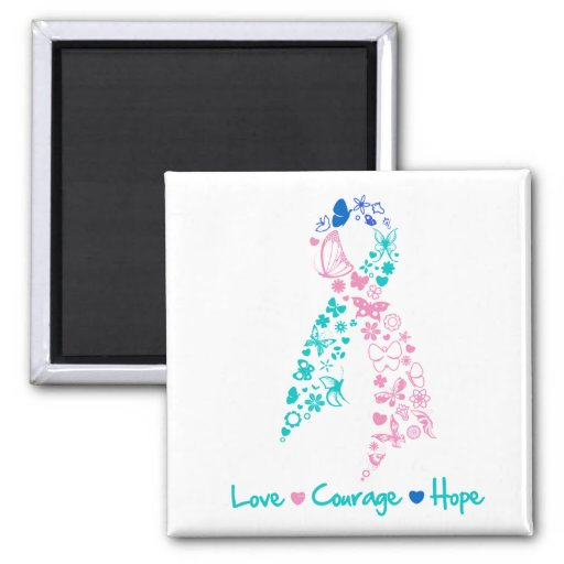 Love Courage Hope Butterfly -  Thyroid Cancer Magnets