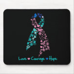 Love Courage Hope Butterfly -  Thyroid Cancer Mouse Pad