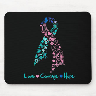 Love Courage Hope Butterfly - Thyroid Cancer Mousepad