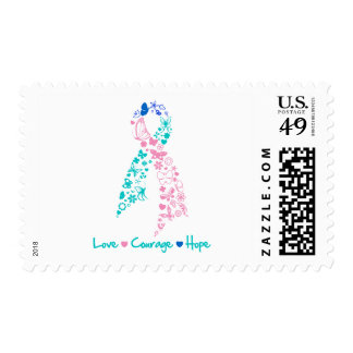 Love Courage Hope Butterfly -  Thyroid Cancer Postage Stamps