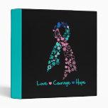 Love Courage Hope Butterfly -  Thyroid Cancer Vinyl Binder