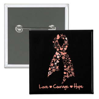 Love Courage Hope Butterfly - Uterine Cancer 2 Inch Square Button