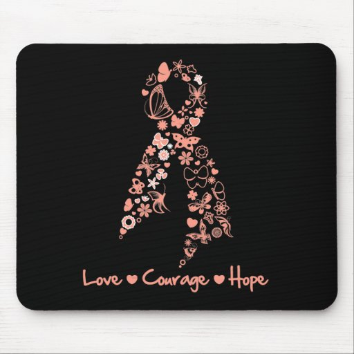 Love Courage Hope Butterfly - Uterine Cancer Mouse Pad