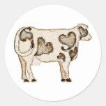 Love Cow Classic Round Sticker