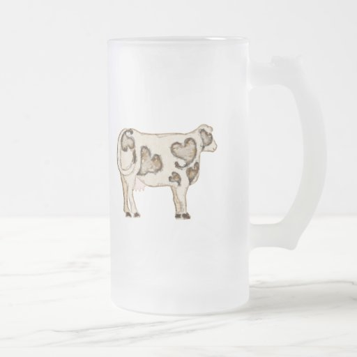 Love Cow Frosted Glass Beer Mug