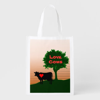 Love Cows- Cow Silhouette with Lone Tree (1-Sided) Reusable Grocery Bag