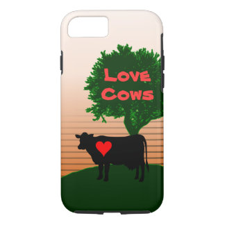 Love Cows- Cow Silhouette with Lone Tree iPhone 8/7 Case