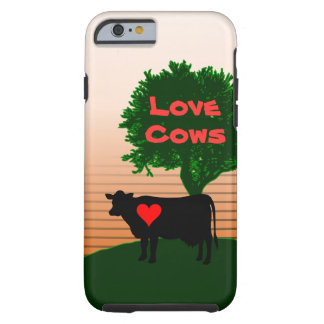 Love Cows- Cow Silhouette with Lone Tree Tough iPhone 6 Case