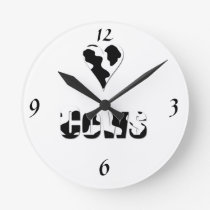 Love cows, heart in black and white cow print round clock