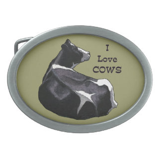 Love Cows: Holstein Dairy Cow Illustration: Farm Oval Belt Buckle