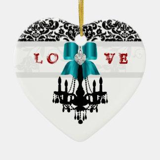 LOVE Cristmas Chandelier Heart Bow Ornament blue
