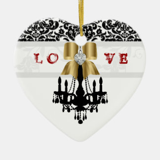 LOVE Cristmas Chandelier Heart Bow Ornament gold