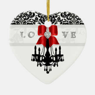 LOVE Cristmas Chandelier Heart Bow Ornament red