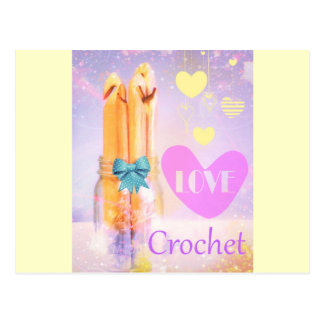 Love Crochet Hooks in Mason Jar Photo Design Postcard