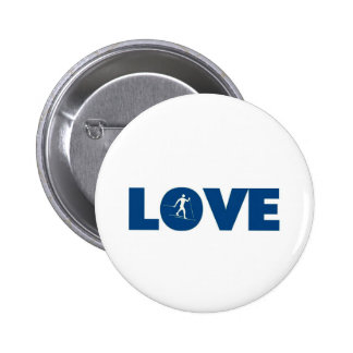 love cross country skiing pinback buttons