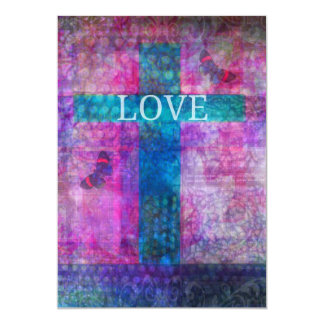 Love Cross with butterfly wedding invite