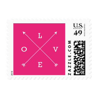 Love Crossing Arrows Typography Hot Pink Postage Stamp