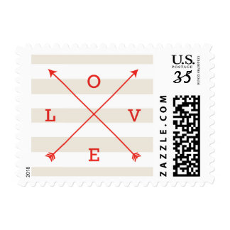 Love Crossing Arrows Typography Ivory & Red Postage