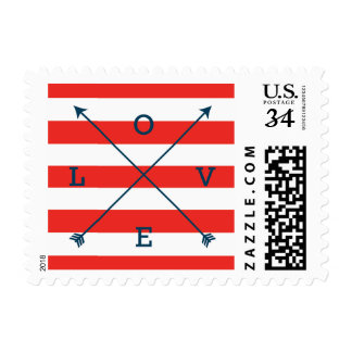 Love Crossing Arrows Typography Navy & Red Postage