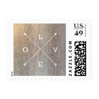Love Crossing Arrows Typography Wood Rustic Postage