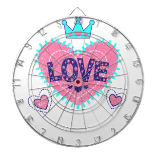 Love crown and hearts dart board