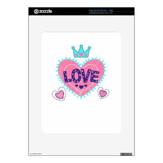 Love crown and hearts iPad skin