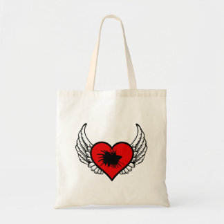 Love Crown Tail Betta Fish Silhouette winged Heart Budget Tote Bag