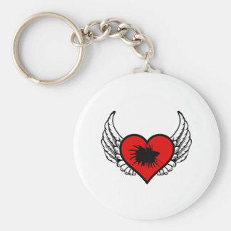 Love Crown Tail Betta Fish Silhouette winged Heart Basic Round Button Keychain