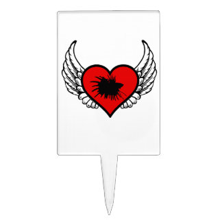 Love Crown Tail Betta Fish Silhouette winged Heart Cake Topper