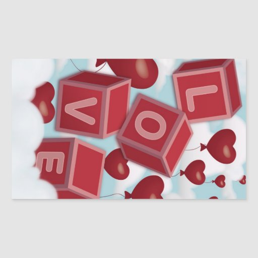Love cubes falling from the sky rectangular sticker