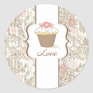 Love Cupcakes Fun Graphic Design Classic Round Sticker