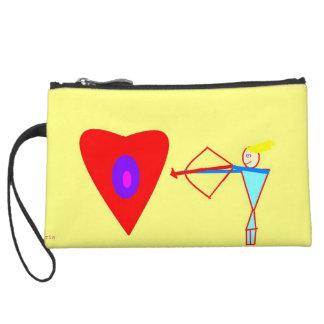 Love Cupid! Stay Peaceful! Suede Wristlet Wallet