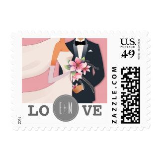 Love. Custom Monograms Wedding Postage Stamps